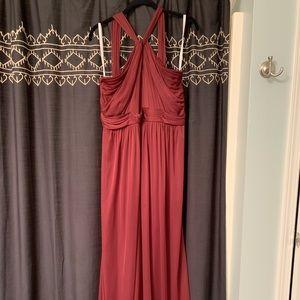 David's Bridal Long Y Neck Bridesmaid Dress